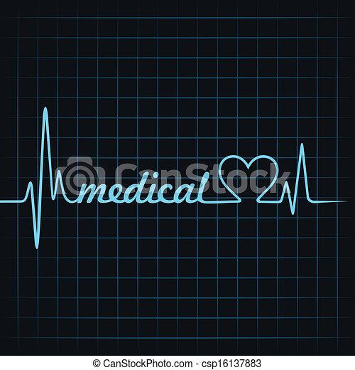 batida coração, fazer, médico, texto - csp16137883