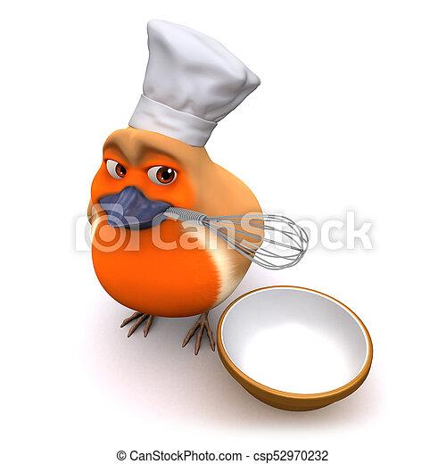 El pájaro petirrojo de Cartoon 3 está haciendo un pastel con bigote y tazón - csp52970232