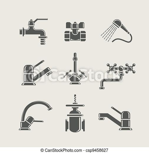 Un mezclador de agua, un grifo, una válvula para el icono - csp9458627