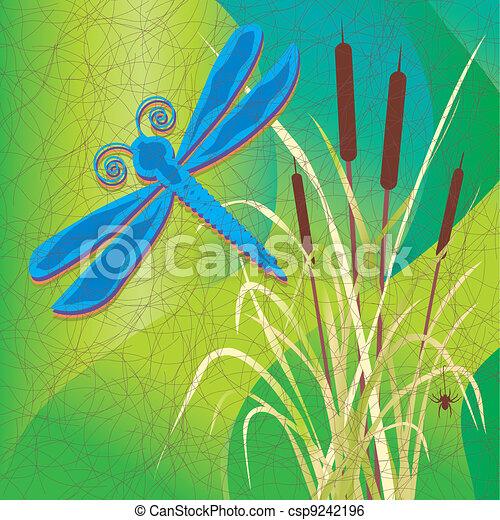 batik, pântano, cattails, estilo, tecido - csp9242196