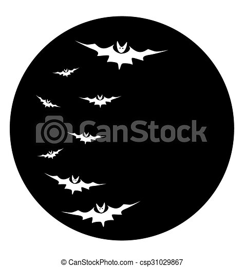 Bats against a disk of the moon - csp31029867