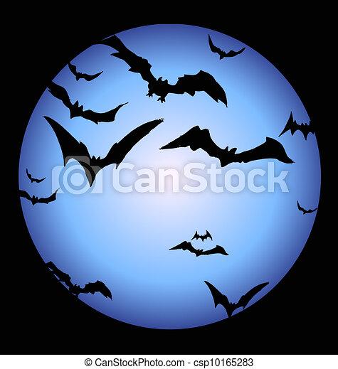 Bats and a full halloween moon vector - Search Clip Art ...