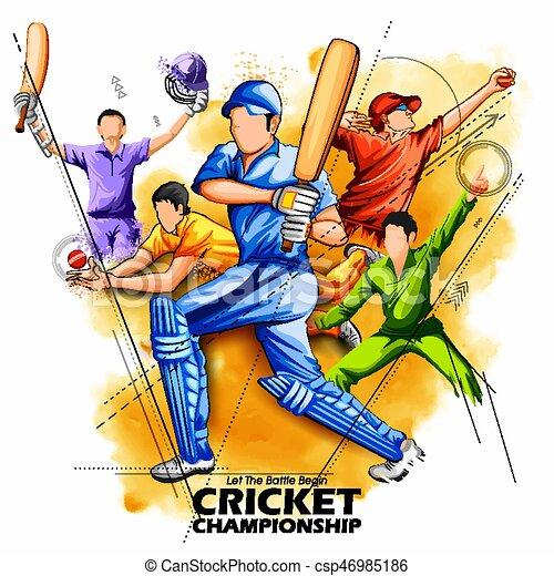 batsman and bowler playing cricket championship