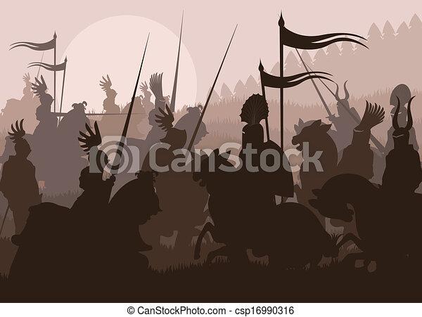battaglia, cavalieri, vettore, medievale, fondo - csp16990316