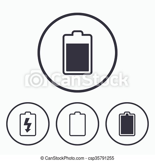 Batterie, elektrizität, laden, icons., symbol. Levels:,... Clipart ...