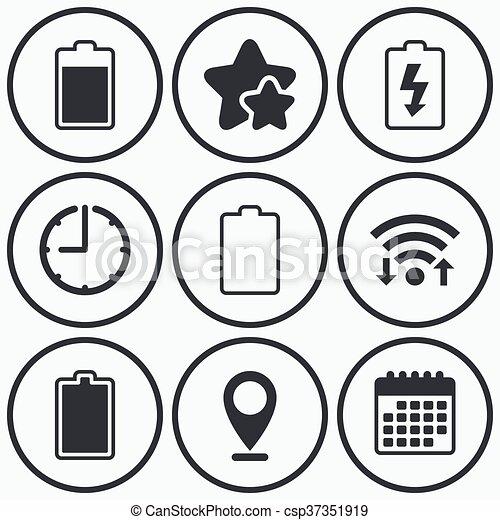 Batterie, elektrizität, laden, icons., symbol. Levels:,... Vektor ...