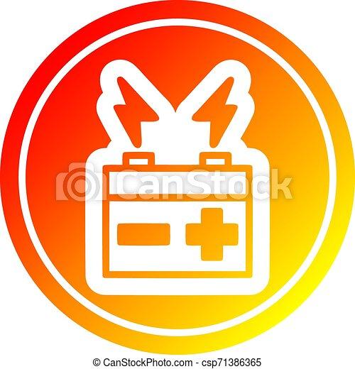 batterie, gradient, chaud, spectre, circulaire - csp71386365