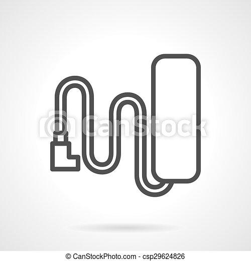 Batterie, linie, vektor, ikone. Vektor, web, draht, elektrisch ...