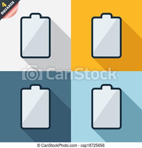Batterie, symbol, zeichen, elektrizität, niedrig, icon., leerer ...