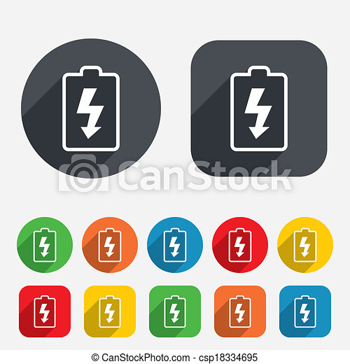 Batterie, symbol., zeichen, icon., blitz, laden. Kreise,... EPS ...
