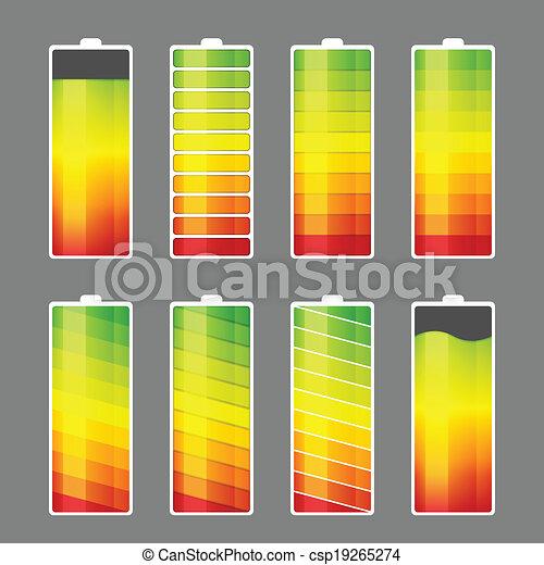 batterij, energie, meter, pictogram - csp19265274