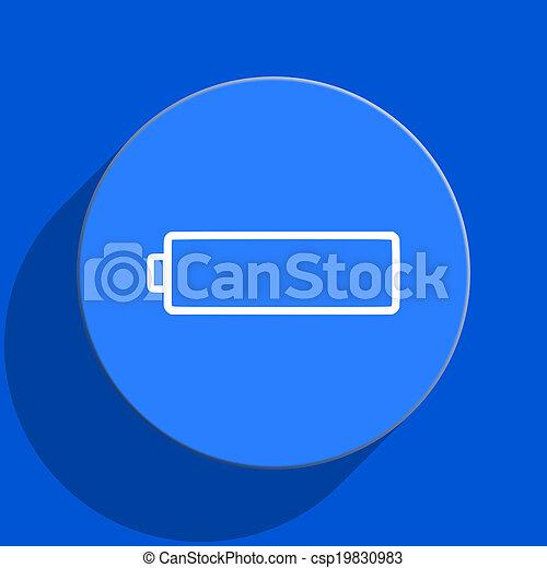 battery blue web flat icon - csp19830983