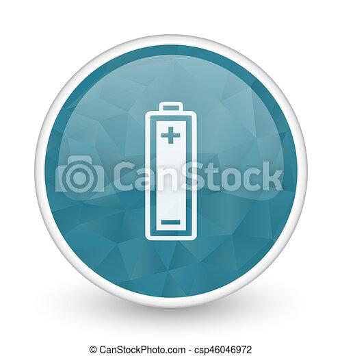 Battery brillant crystal design round blue web icon. - csp46046972