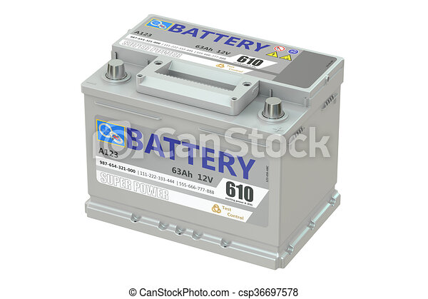 battery car, 3D rendering - csp36697578