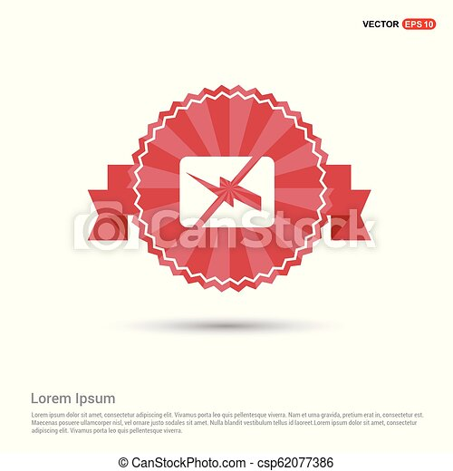 Battery Charge Icon - Red Ribbon banner - csp62077386