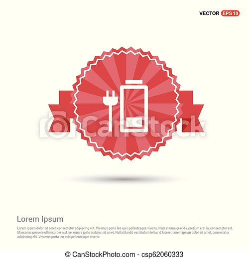 Battery Charge Icon - Red Ribbon banner - csp62060333
