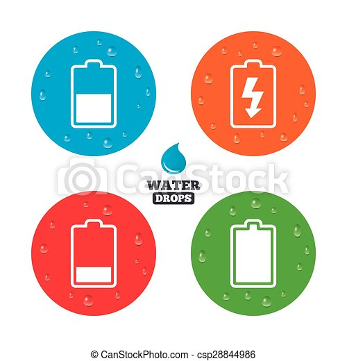 Battery Charging Icons Electricity Symbol Water Drops On Button