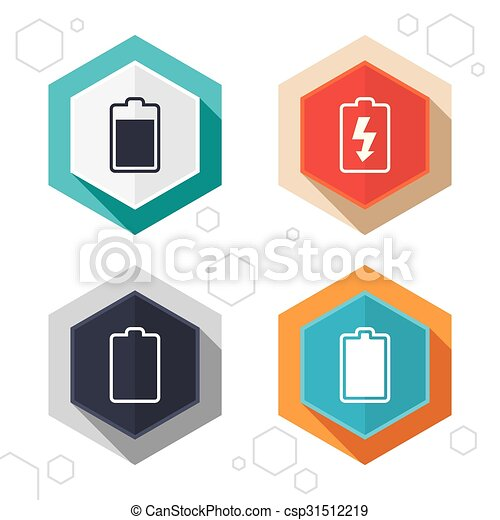 Battery Charging Icons Electricity Symbol Hexagon Buttons Battery