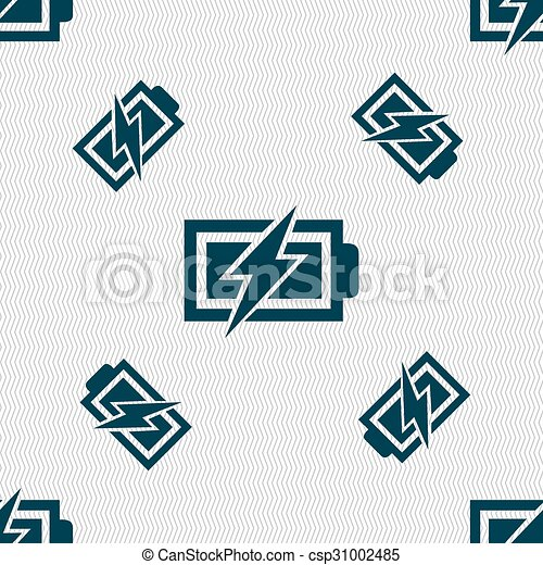 Battery Charging Sign Icon Lightning Symbol Seamless Pattern With