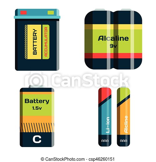 Battery energy tool electricity charge fuel positive supply and isposable generation component alkaline industry technology vector illustration. - csp46260151