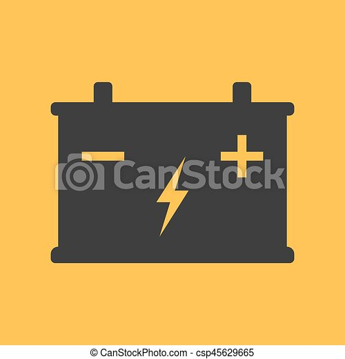 Battery flat icon on background. Vector illustration. Isolated. - csp45629665
