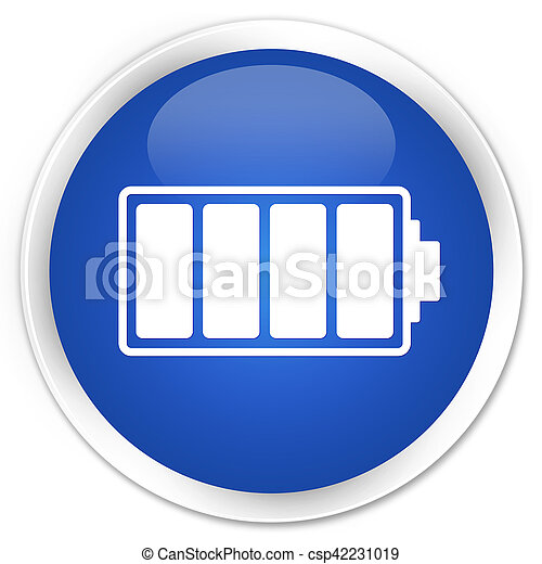 Battery icon blue glossy round button - csp42231019