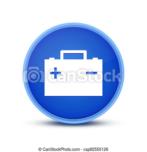 Battery icon isolated on special blue round button abstract - csp82555126