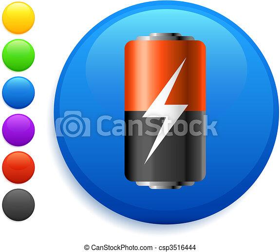 battery icon on round internet button - csp3516444