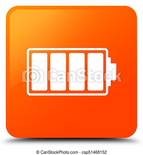 Battery icon orange square button - csp51468152