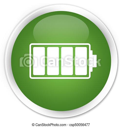 Battery icon premium soft green round button - csp50056477