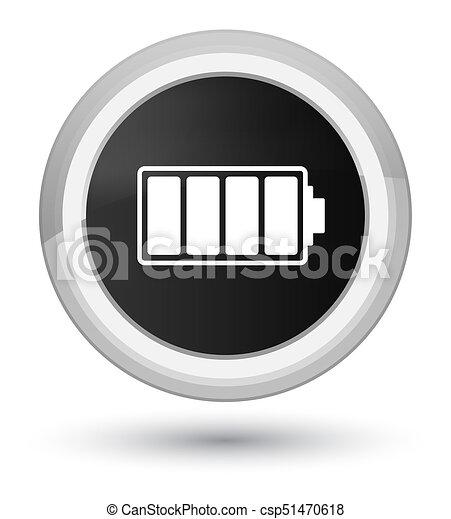 Battery icon prime black round button - csp51470618