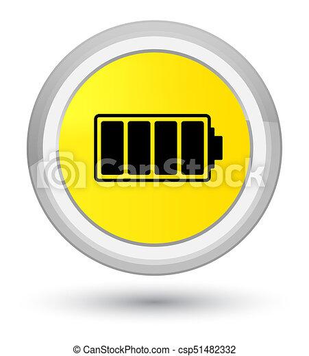 Battery icon prime yellow round button - csp51482332