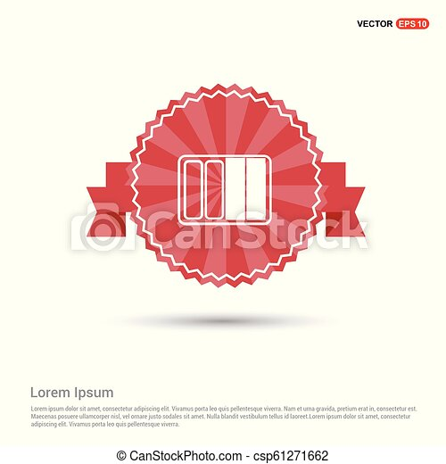 Battery Icon - Red Ribbon banner - csp61271662