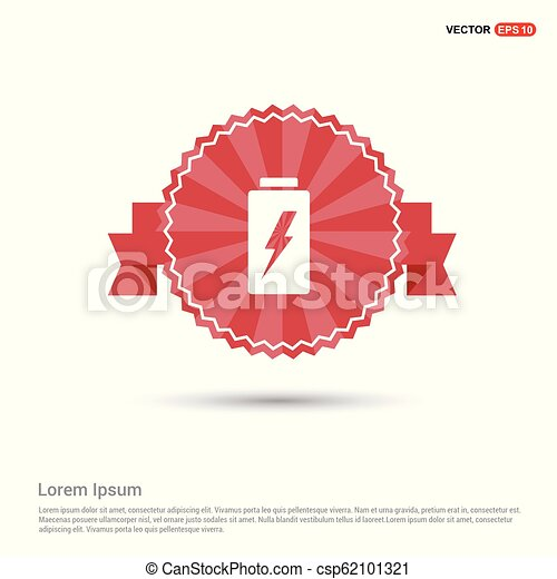 Battery Icon - Red Ribbon banner - csp62101321
