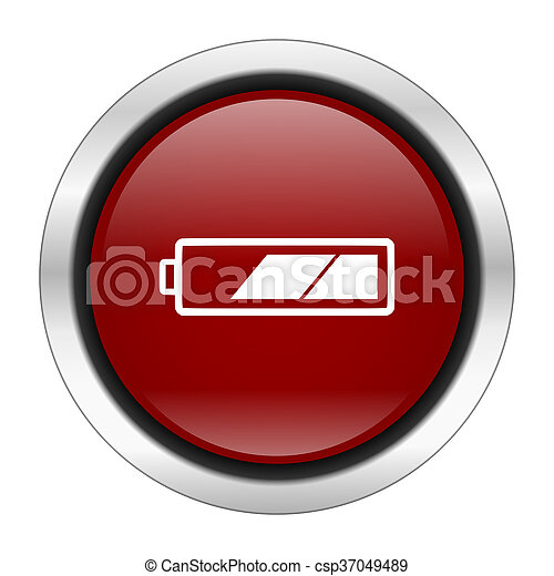 battery icon, red round button isolated on white background, web design illustration - csp37049489