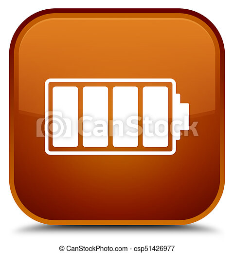 Battery icon special brown square button - csp51426977