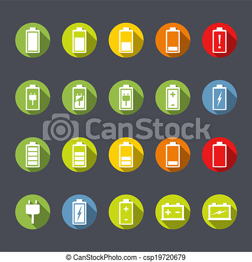 Battery Icons Flat Design - csp19720679