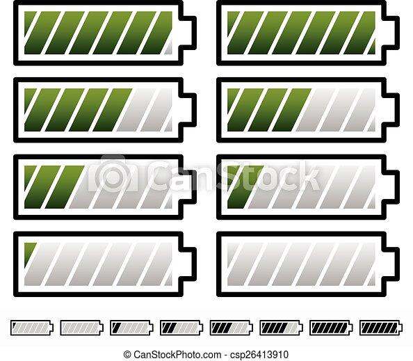 Battery Level Indicator Symbols / Battery Symbols with Slanted bars      Battery Level Indicator Symbols / Battery Symbols with Slanted bars - csp26413910