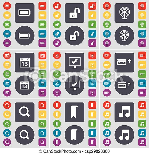 Battery, Lock, Wi-Fi, Calendar, Monitor, Cassette, Magnifyign glass, Marker, Note icon symbol. A large set of flat, colored buttons for your design. Vector - csp29828380