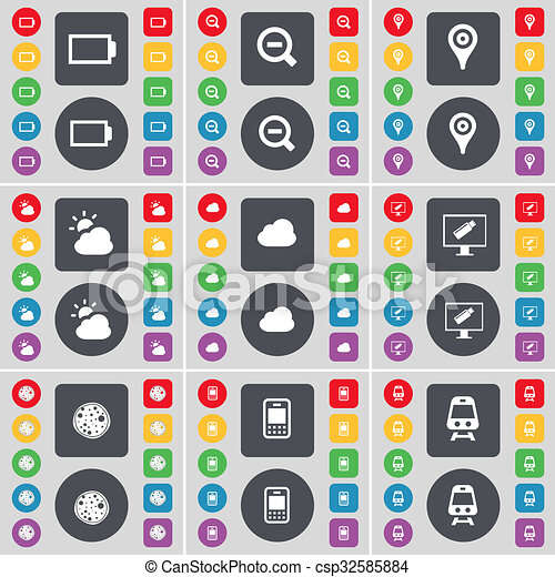Battery, Magnifying glass, Checkpoint, Cloud, Monitor, Pizza, Mobile phone, Train icon symbol. A large set of flat, colored buttons for your design. - csp32585884