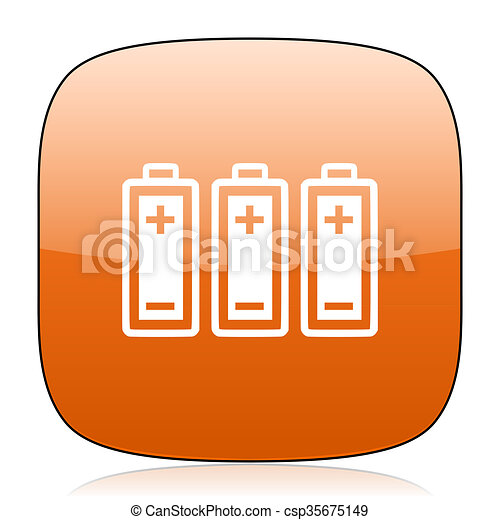 battery orange square web design glossy icon - csp35675149