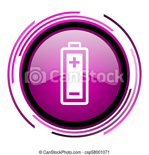 Battery pink glossy web icon isolated on white background - csp58001071