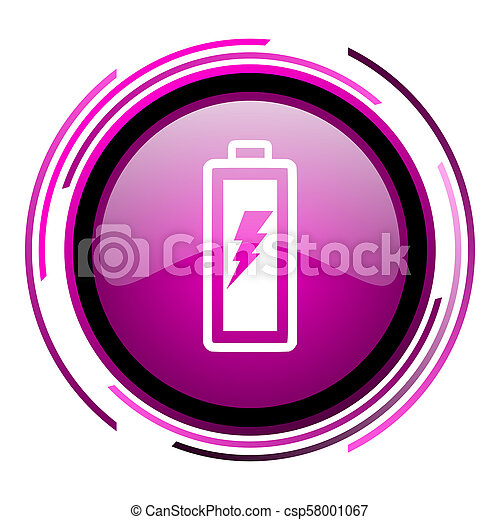 Battery pink glossy web icon isolated on white background - csp58001067