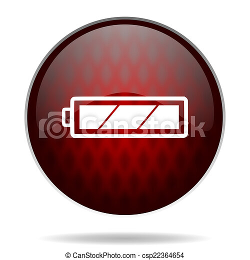battery red glossy web icon on white background - csp22364654