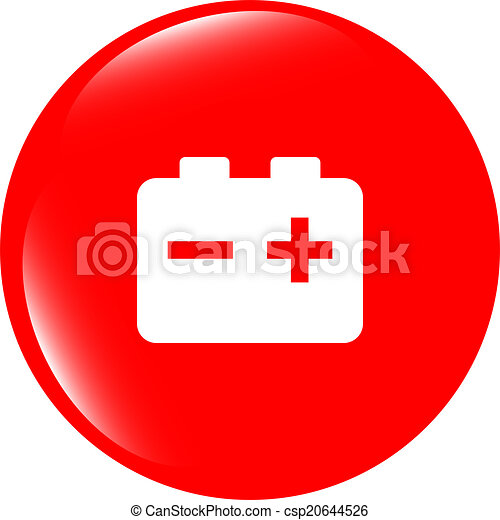 battery round web glossy icon button - csp20644526