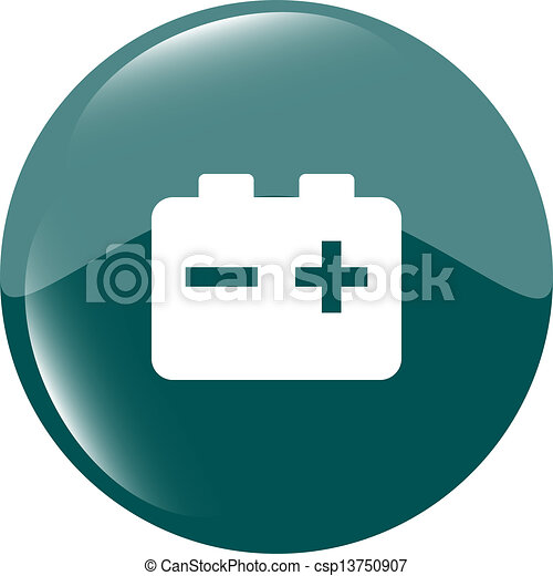 battery round web glossy icon button - csp13750907
