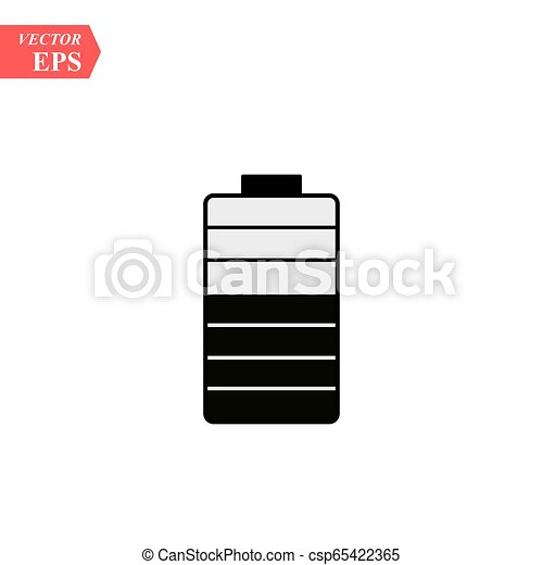 Battery solid icon. Energy illustration isolated on white. Accumulator glyph style design, designed for web and app. - csp65422365