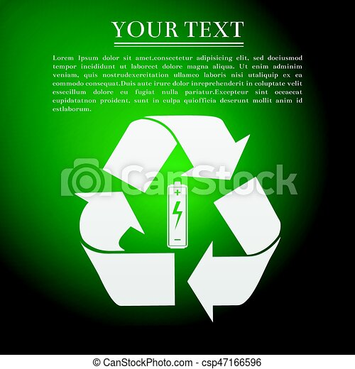 Battery with recycle symbol - renewable energy concept flat icon on green  background  Vector Illustration