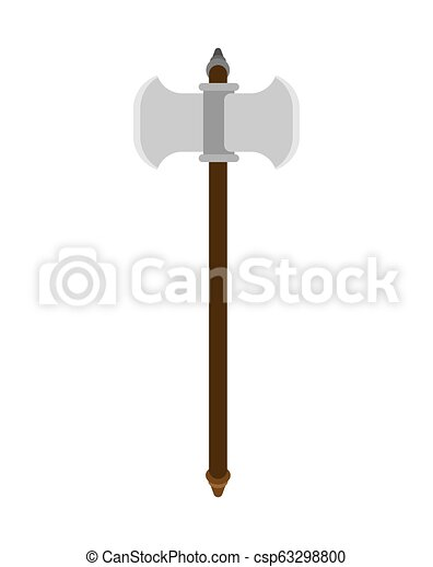 Battle ax weapon isolated. Double blade. Old medieval axe for warriors. - csp63298800