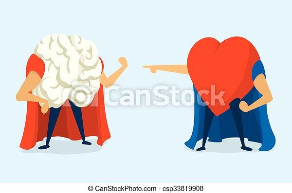 Battle between heart and brain super heros - csp33819908